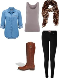 20 piece vacation packing list for Paris, NYC, Chicago, Europe, you name it!  Works great for spring, fall or winter.  Includes 7 days of outfits.  Denim shirt, black jeans, leopard scarf and riding boots.