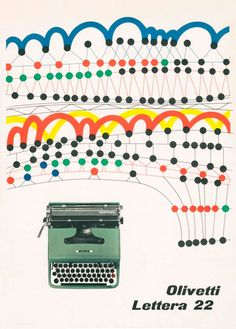 Olivetti Lettera 22 Poster by ninonbooks ( vintage / retro typewriter poster / advertisement / graphic design )