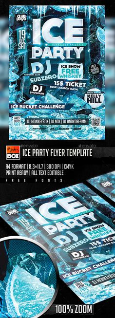 Ice Party Flyer Template PSD #design Download: http://graphicriver.net/item/ice-party-flyer-template/14013077?ref=ksioks