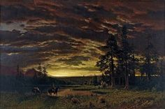 Evening on the Prairie by Albert Bierstadt, 1870. Looked even cooler in real life - museo thyssen