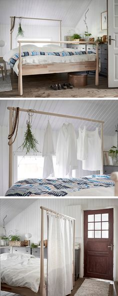 When is a bed more than a bed? When it's a GJÖRA bed! With a solid birch frame that can be a clothes hangar, room divider, or anything you can think of!