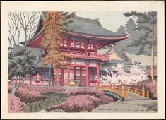 1930 - Asano,Takej - Temple in Spring