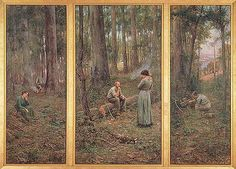 FREDERICK McCUBBIN  THE PIONEER, 1904 .(Frederick McCubbin (25 February 1855 – 20 December 1917) was an Australian painter who was prominent in the Heidelberg School, one of the more important periods in Australia's visual arts history.)