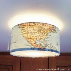 Theo soll die Welt entdecken - Es werde Licht! / DIY Lampenschirm / DIY lamp / caravan makeover / Knaus Passat 1978 / Landkartenstoff / Maps / fabric / Wohnwagen Umbau / www.loloundtheo.blogspot.com