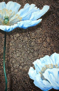 Cherie Roe Dirksen. South African artist. Love the detail in the background...beautiful!!! I love that blue against the dark detailed background!