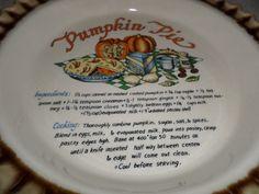 "Vintage Pumpkin Pie Baking Ceramic Dish with Recipe on Dish 10"" Pretty | eBay"