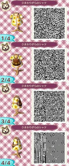 Sunflower Tourist Shirt -  Animal Crossing New Leaf QR Code: