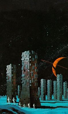 Here's an old favorite of mine: 1974 cover art by Dean Ellis for Ben Bova's 'As on a Darkling Plain.' For my money, Ellis was the most underrated sci-fi cover artist: He uses clean, intricate. Trippy, Sci Fi Kunst, Science Fiction Kunst, Arte Sci Fi, 70s Sci Fi Art, Classic Sci Fi, Futuristic Art, Sci Fi Books, Graffiti