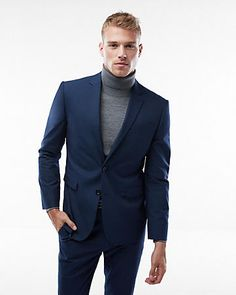 Slim Navy Blue Suit Jacket