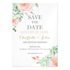 Succulent Save the Date Cards watercolor succulent peach roses save the dates magnetic card
