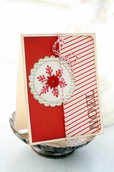 Hand Stamped Card Noel Card Candy Cane Stripes Red by CardsbyCarla, $4.75