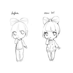 Ok now u know why I'm afraid of drawing chibis xD the old one (on the left ; v ; ) was from erm.. a-a few days ago  I know it's crazy looks like a whole different artist HAHA  but this just proves that practice makes perfect ; v ; I was giving up on my chibis cos they look so weird OTL but I think I'm slowly figuring out how to do them >< still a long way to go! goes back to practice  #art #improvement #chibi #manga #anime by hiba_tan
