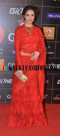 http://www.kalkifashion.com/ Divya Khosla Kumar in red lehenga saree by Sabyasachi at Gionee Star Global Indian Music Awards (GiMA)