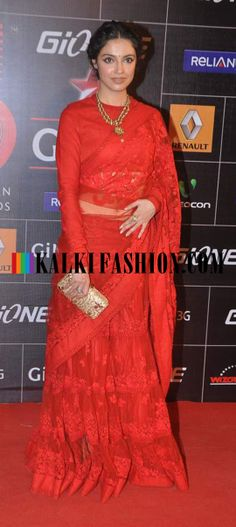 http://www.kalkifashion.com/ Divya Khosla Kumar in red lehenga saree by Sabyasachi at Gionee Star Global Indian Music Awards (GiMA)