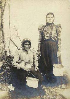 Athapascan women pose with birchbark baskets,