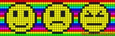 Three colorful smiley faces perler bead pattern