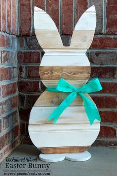 Grab some scrap wood and shape it into this cute outdoor bunny decoration. Get the tutorial at My Recipe Confessions.