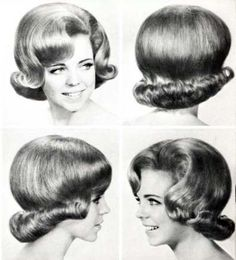 "Original pinner sez: 1960s hair very neat stylised--and we actually thought we looked good in this kind of hairdo.  We generally reserved the really ""fixed"" hair dos from the beauty shop for portraits etc!  This kind of style was out by the late 60's when the long, straight hair was in.  Some people even ironed their hair."