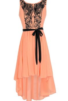 Scribble Out Hi Low Dress in Peace/Coral and Black