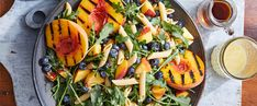 Grilled peaches and blueberries in a pasta salad? This cold pasta salad—which also happens to be whole-food plant-based—is perfect for summer. Summer Grill Recipes, Grilling Recipes, Grilled Fruit, Grilled Peaches, Vegetarian Recipes, Healthy Recipes, Cooking Courses, Vegan Menu, Vegan Grilling