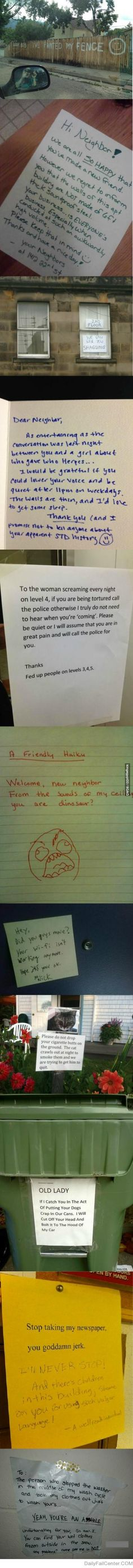 Getting on with your neighbours. How not to do it. HILARIOUS