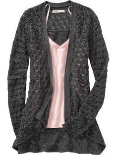 grey crochet sweater   pink top