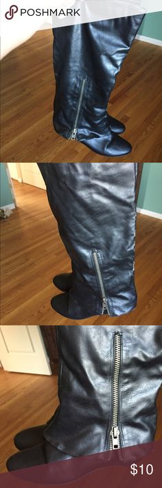 Black Madden Girl Boots 8 Zippers on Side Black Madden Girl Boots with Zippers on the Sides . 8 Normal Sings of ware but still have life left in them. Look at pictures to see sings Madden Girl Shoes Combat & Moto Boots