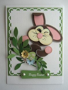 handmade Easter card ...  punch art bunny winking & waving ... lots of dimension with punched flowers and flipped down ear ... adorable!!!  ... Stampin' Up!