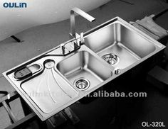 Teka stainless steel double bowl kitchen sink with drain board 119 oulin stainless steel sink double drain board kitchen sinks workwithnaturefo