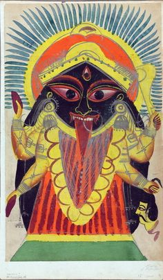 Vibrant 19th century Kalighat painting if the goddess Kali. (2011 exhibition at the Cleveland Museum of Art)