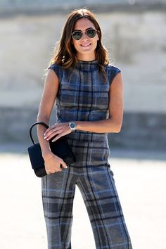 Parisienne: Head-to-Toe Prints Tartan Fabric, Tartan Plaid, Outfits Otoño, Fashion Outfits, Gala Gonzalez, Ivy League Style, Checkered Skirt, One Piece Outfit, I Love Fashion