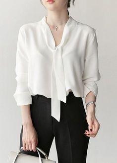 03db85006 Blusa Chiffon Camisa com Laço no Decote Moda Evangélica Blusa Social  Feminina Branca