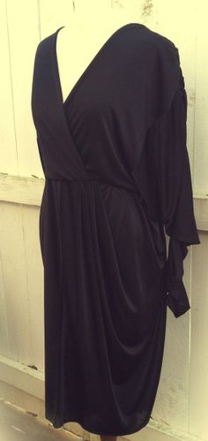 Love this sleeve! American Hustle Black Evening Dress. Mara Jrs of by Biography  #70s #boho #americanhustle #disco