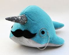 Narwhal Plush  with Mustache and Monocle  Medium  by OstrichFarm, $34.00m, especially love how the horn sparkles;p