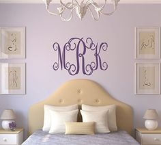 Personalized Monogram Wall Decal - Monogram Wall Sticker: Personalize your space with an elegant monogram decals from LucyLews Vinyl Wall Decals are removable without damaging you wall and available in a variety of colors and styles. Monogram Wall Hangings, Monogram Wall Decals, Name Wall Decals, Removable Wall Decals, Wall Decal Sticker, Wall Stickers, Framed Monogram, Letter Monogram, 3 Letter