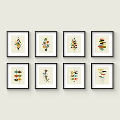 Collection of (8) Giclee Prints in 8x10 - 11x14 - 16x20 Format - Mid Century Modern Print Set by Thedor on Etsy https://www.etsy.com/uk/listing/465032652/collection-of-8-giclee-prints-in-8x10