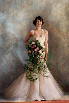 Trailing wedding bouquet elaborate gorgeous big huge ornate