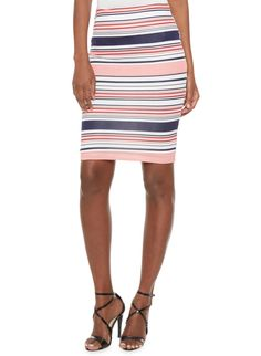 Rainbow Striped Pencil Skirt with Elasticized Waist