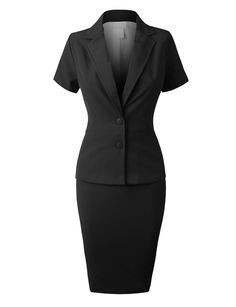 This fitted blazer and skirt suit set fits the body perfectly. It is a high waisted midi skirt that gives the suit a unique look. Feature - 65% Rayon / 35% Polyester - Lightweight breathable fabric wi