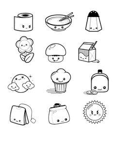 Cute Doodles Drawings, Cute Food Drawings, Mini Drawings, Kawaii Doodles, Kawaii Drawings, Easy Doodle Art, Doodle Art Drawing, Stickers Kawaii, Planner Doodles
