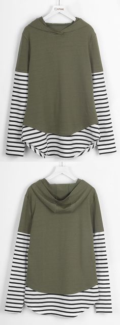 $22.99 Only with free shipping&easy return! This striped splicing hoodie will be your fave for casual look. Keep cozy&chic at Cupshe.com
