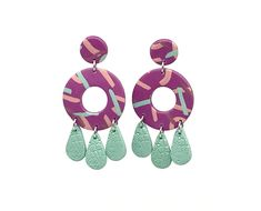 So adorable! New to my etsy shop: Polymer Clay Earrings - Polymer Clay Jewelry - round - colorful - fun #jewelry #earrings #pink #green #earring #polymerclay #unique