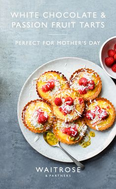 Bake for Mother's Day with our white chocolate and passion fruit tarts. They work perfectly as part of an afternoon tea. Tap to see the full Waitrose & Partners recipe. Morning Tea Ideas, Waitrose Food, Rhubarb Cake, Fruit Tarts, Raspberry Recipes, Xmas Food, Sweet Tarts, Desert Recipes, Food Cravings