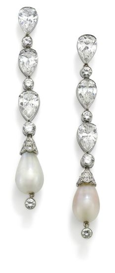 A pair of diamond and natural pearl ear pendants