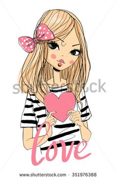Beautiful girl with a heart. Cute girl. Romantic girl. - stock vector