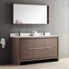 Fresca Trieste Gray Oak Undermount Double Sink Bathroom Vanity with Ceramic Top (Faucet Included) (Common: 60-in x 20.5-in; Actual: 60-in x 20.5-in)