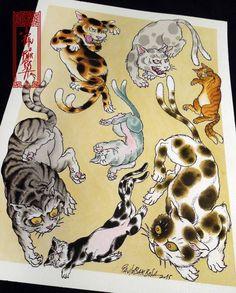 Tattoo Flash Art by Paulo Barbosa - Ariuken Art on Facebook Japanese Tiger Tattoo, Japanese Tattoo Designs, Japanese Sleeve Tattoos, Japanese Drawings, Japanese Cat, Japanese Prints, Japanese Culture, Retro Tattoos, Asian Tattoos
