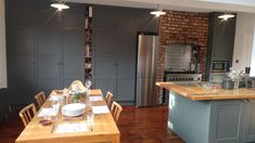 Industrial style shaker kitchen, handpainted in Farrow and Ball Downpipe