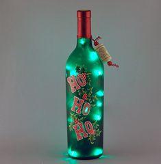 Hand painted Christmas wine bottle light