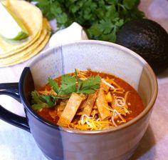 Crock Pot Chicken Tortilla Soup...almost no fat at all, a lean protein from chicken, and tons of vegetables (vitamins, minerals, healthy fiber) from all the tomatoes, corn, and beans.